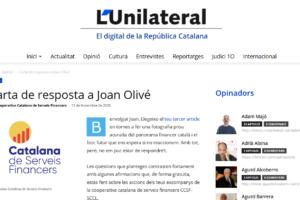 La Cooperativa respon als articles publicats per Joan Olivé al diari digital l'Unilateral