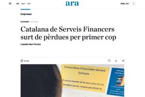 """El diari """"Ara"""" fa ressò dels primers resultats amb beneficis de la Cooperativa"""